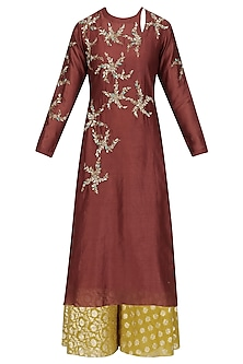 Maroon Floral Embroidered Kurta and Skirt Set