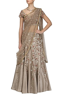 Grey Floral Embroidered Lehenga and Blouse Set by Joy Mitra