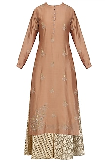 Peach Floral Embroidered Kurta and Skirt Set