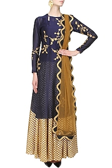Indigo Floral Embroidered Kurta and Gold Brocade Skirt with Golden Scarf by Joy Mitra