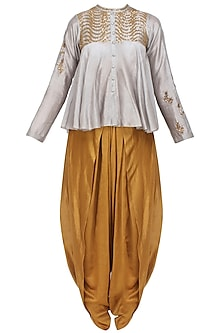 Grey Sequins Embroidered Flared Top and Gold Dhoti Pants with Golden Scarf by Joy Mitra