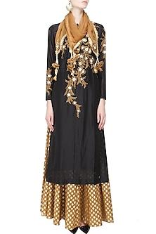 Black Floral Embroidered Straight Kurta and Gold Brocade Skirt with Golden Scarf by Joy Mitra
