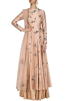 Peach Floral Embroidered Anarkali Kurta and Skirt Set by Joy Mitra