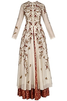 Cream Floral Embroidered High Slit Kurta and Skirt Set by Joy Mitra