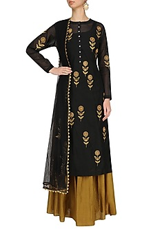 Black Floral Embroidered Straight Kurta and Skirt Set by Joy Mitra