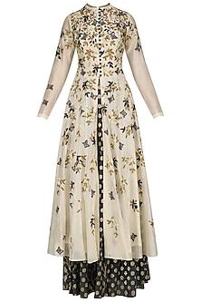 Cream Floral Embroidered Anarkali Kurta and Blue Skirt Set by Joy Mitra