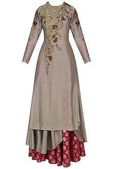 Grey Jaal Embroidered Asymmetric Kurta and Skirt Set