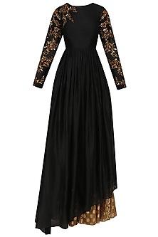 Black Floral Embroidered Asymmetric Kurta and Skirt Set by Joy Mitra