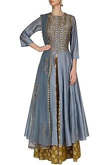 Grey Rikrak Embroidered High Slit Kurta and Skirt Set by Joy Mitra
