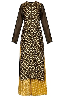 Olive Green Jaal Embroidered Straight Kurta and Skirt Set by Joy Mitra