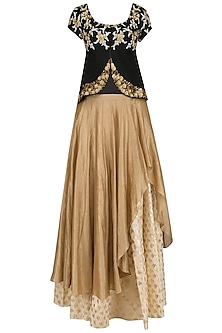 Black Floral Embroidered Flap Top and Gold Skirt Set