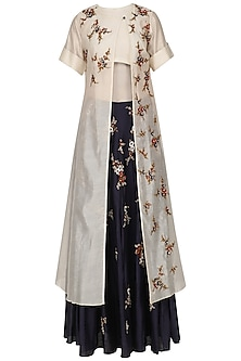 Cream Floral Embroidered Kurta and Blue Skirt Set