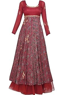 Maroon Azrak Floral Embroidered Anarkali Set by Joy Mitra