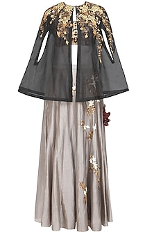 Grey Floral Embroidered Skirt and Sequins Work Blouse and Cape Set by Joy Mitra