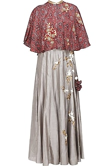 Grey Floral Embroidered Skirt and Red Azrak Cape Set