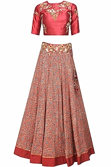 Maroon Floral Sequins and Beads Embroidered Blouse and Skirt Set by Joy Mitra