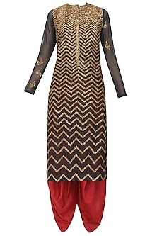 Black Zigzag Sequins Embroidered Kurta and Maroon Dhoti Pants with Golden Stole by Joy Mitra