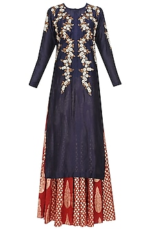 Indigo Floral Embroidered Kurta and Red Brocade Skirt with Golden Stole by Joy Mitra