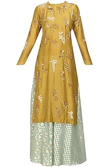 Yellow Floral Embroidered Kurta and Mint Brocade Sharara Set