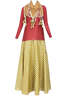 Maroon Floral Embroidered Top and Mustard Brocade Skirt with Golden Stole by Joy Mitra