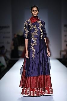 Indigo and Maroon Long and Short Embroidered Kurta with Maroon Skirt by Joy Mitra