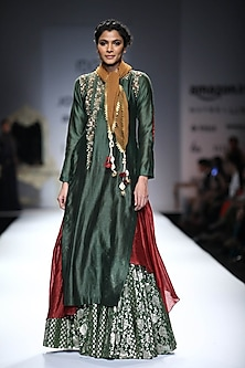 Green and Maroon Embroidered Layered Kurta with Green Woven Skirt by Joy Mitra