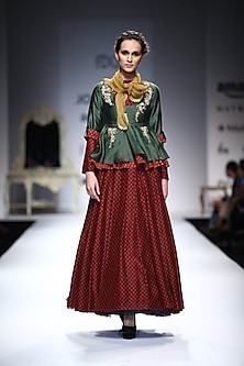 Green Embroidered Pocket Peplum Top with Maroon Printed Skirt by Joy Mitra