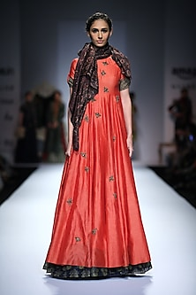 Coral Bug Embroidered Anarkali by Joy Mitra