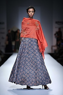 Coral Embroidered Cape Style Printed Anarkali by Joy Mitra