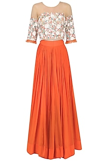 Tangerine Orange Embroidered Lehenga Set
