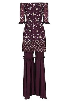 Wine Embroidered Off-Shoulder Sharara Set