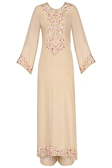 Beige Embroidered Kurta Set