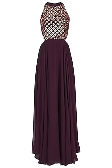 Wine Embroidered Gown by Japnit Ahluwalia
