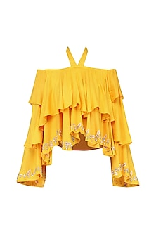 Yellow Layered Off-Shoulder Top by Japnit Ahluwalia