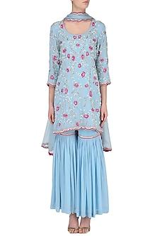 Blue Embroidered Sharara Set by Japnit Ahluwalia