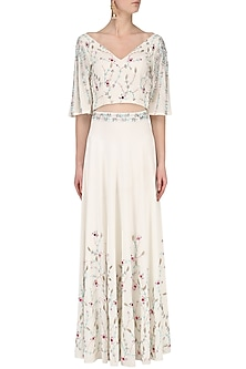 White Embroidered Lehenga and Crop Top by Japnit Ahluwalia
