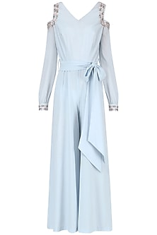 Powder Blue Embroidered Jumpsuit