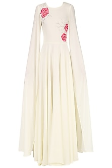 White Embroidered Maxi Dress with Cape Sleeves