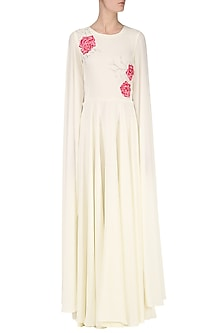 White Embroidered Maxi Dress with Cape Sleeves by Japnit Ahluwalia