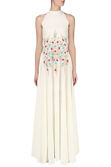 White Embroidered Gown by Japnit Ahluwalia