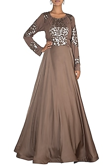Brown Sequins Embroidered Draped Gown by Jyoti Sachdev Iyer