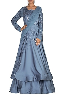 Blue Embroidered Layered Gown by Jyoti Sachdev Iyer