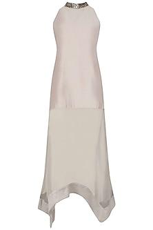 Grey Badla Work Asymmetric Dress by Jyoti Sachdev Iyer
