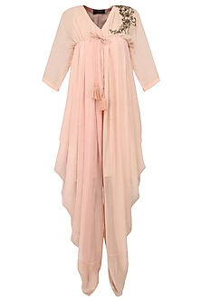 Blush Pink Embroidered Cowled Jumpsuit