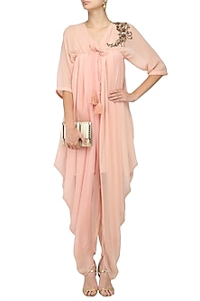 Blush Pink Embroidered Cowled Jumpsuit by Jyoti Sachdev Iyer
