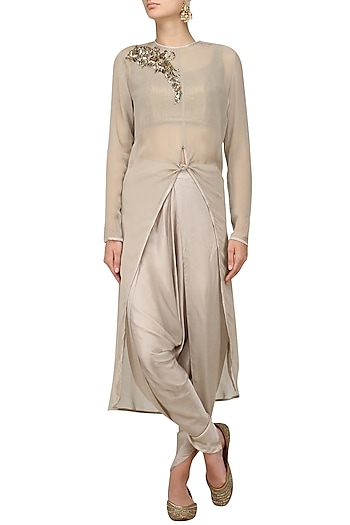 Grey Embroidered Tie Knot Tunic with Dhoti Pants and Bustier by Jyoti Sachdev Iyer