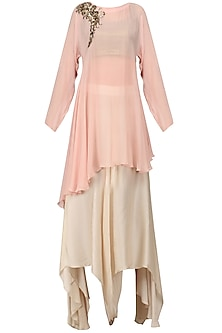 Blush Pink Embroidered Drape Tunic with Ivory Flared Pants