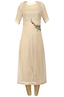 Champagne Embroidered Kurta with Ivory Dhoti Pants