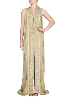 Beige Embellished Lucknowi Long Jacket With Dhoti Pants by Jyoti Sachdev Iyer