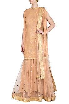 Blush Pink Embellished Lucknowi Anarkali Set by Jyoti Sachdev Iyer
